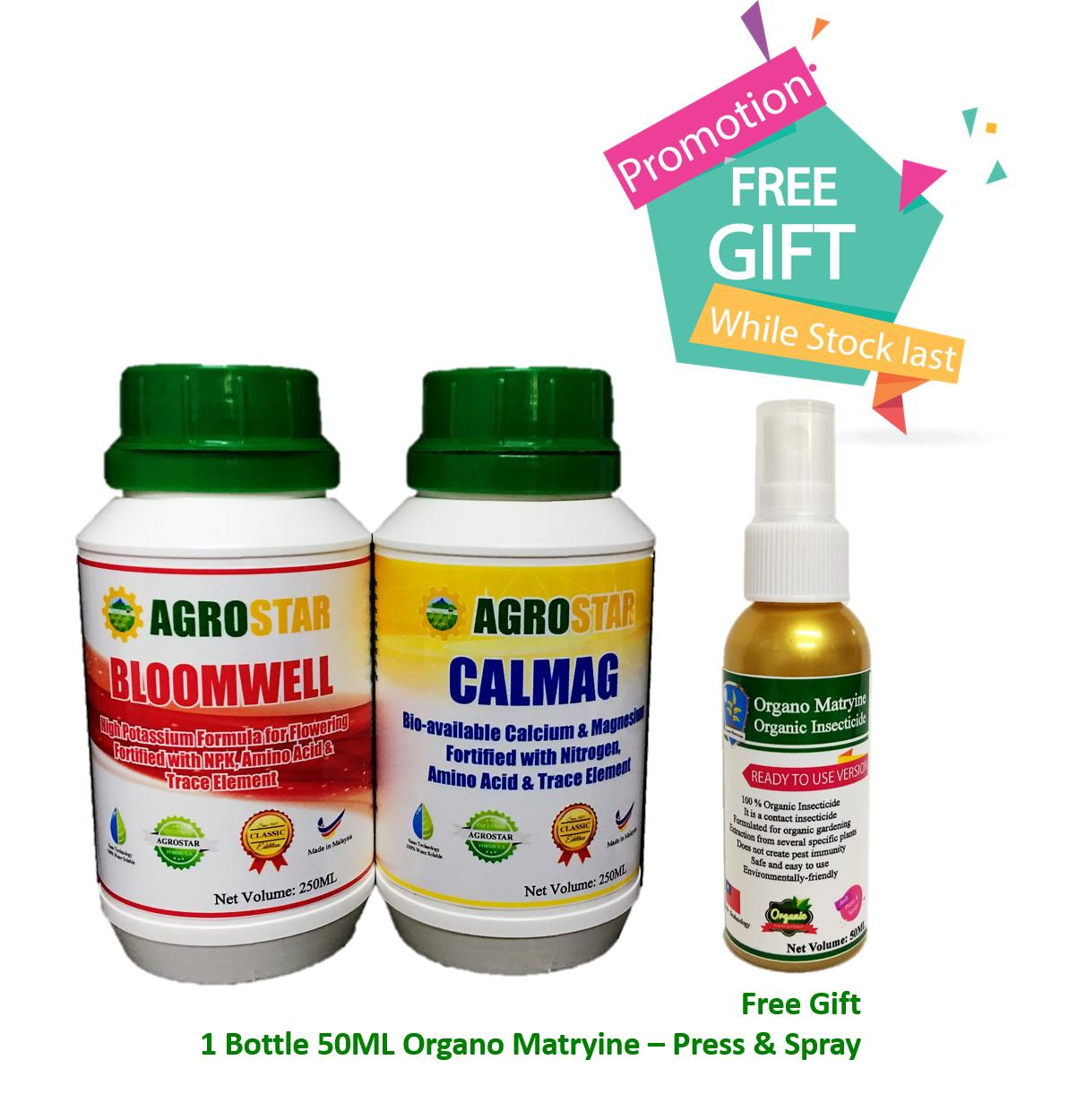 AGROSTAR – Bloomwell (High Potassium formula for flowering fortified with N P K, Amino Acid and TE) & Calmag (Bio-available Calcium and Magnesium Fortified with Nitrogen, Amino acid and TE ) Liquid Fertilizer Mini Pack 2 x 250ML Plus Free Gift