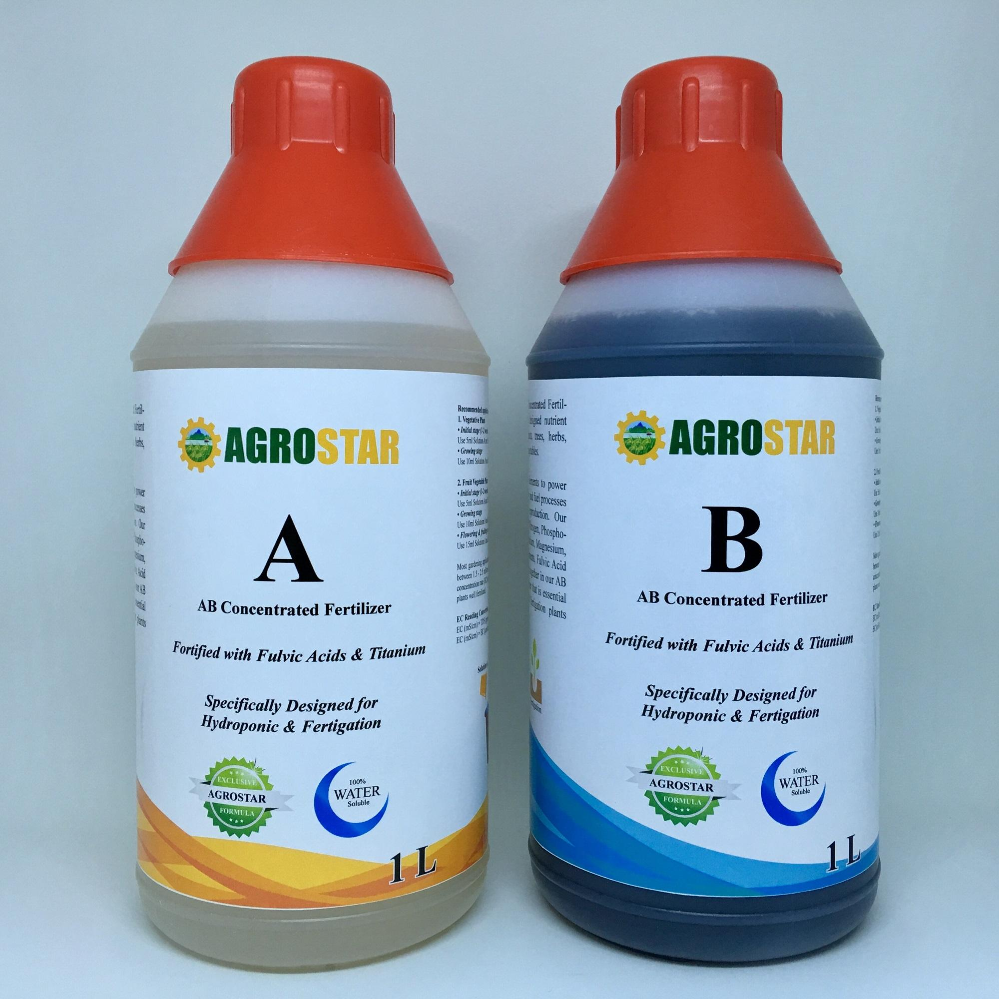 AGROSTAR AB NPK Concentrated Fertilizer Fortified with Fulvic Acids and Titanium specifically designed hydroponics and fertigation plants such as herbs, lettuce and other vegetables (2 Bottles x 1L)