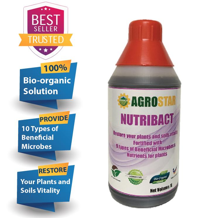 AGROSTAR – NutriBact – Fortified with 10 beneficial microbes and complete nutrients to restore your plants and soils vitality (New Formula) 1L
