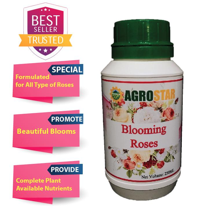 AGROSTAR – Blooming Roses – Completed with Nitrogen, Phosphorus, Potassium nutrients, plant based amino acids, enzymes and trace elements special formulated for all type of Roses (Brown) 250ML
