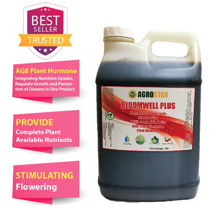 Bloomwell Plus – High Potassium formula for flowering fortified with N P K, Amino Acid, trace element and AG8 Plant hormone Liquid Fertilizer (New Formula) (Agrostar Brand) for Vegetables, flower, durian, Fruits & All ornamentals 10L (Black)