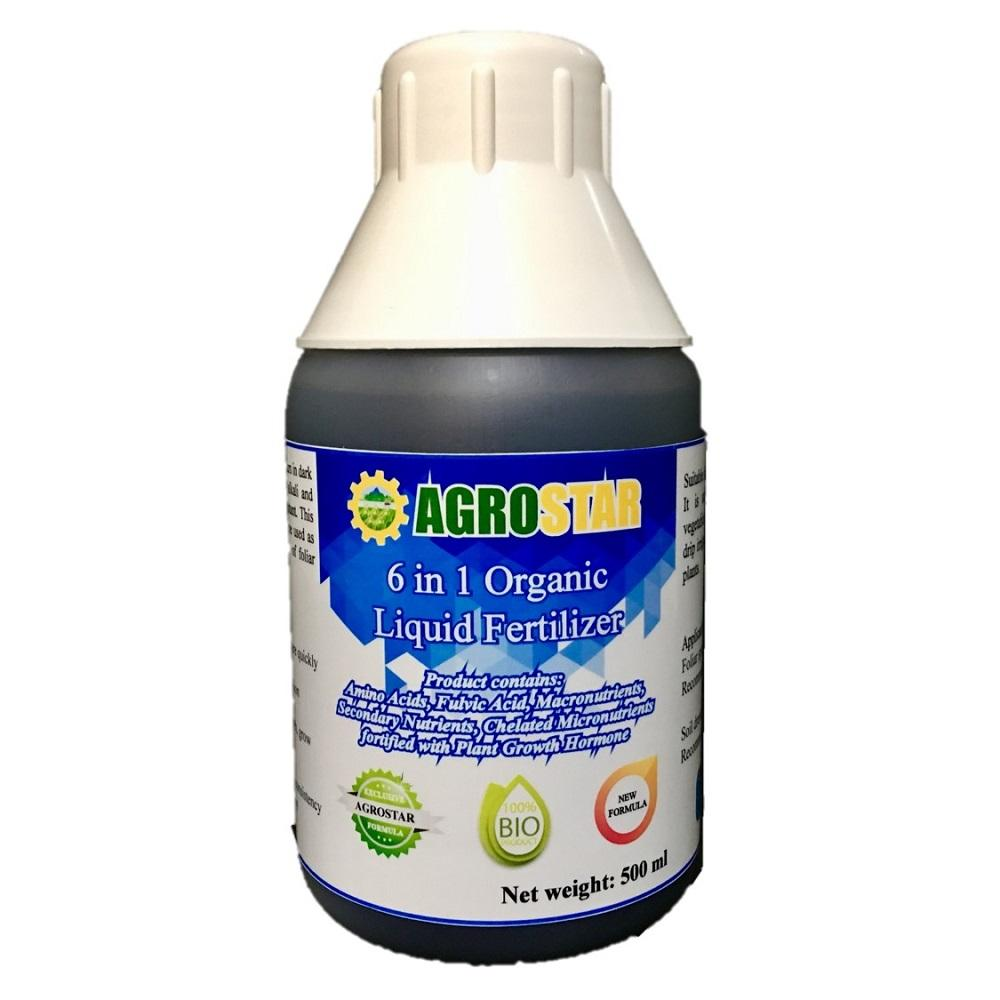 6 in 1 Organic Liquid Fertilizer – New Formula (Amino Acids, Fulvic Acids, Macronutrients, Secondary Nutrients, Chelated micronutrients fortified with Plant Growth Hormone) suitable for vegetables, seedlings, fruit trees, flowers  500ML