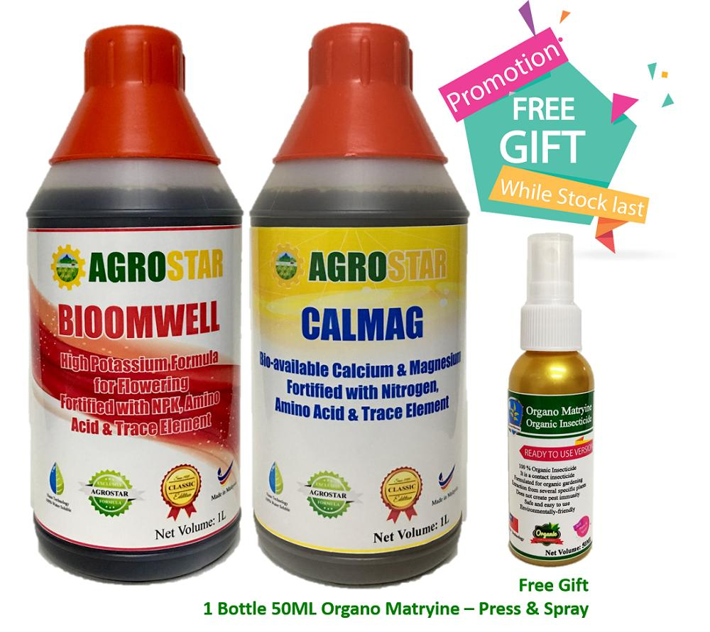 AGROSTAR – Bloomwell (High Potassium formula for flowering fortified with NPK,Amino Acid and trace element) & Calmag (Bio-available Calcium and Magnesium Fortified with Nitrogen,Amino acid and trace element) Liquid Fertilizer Bundle Pack 2 X 1L- Free Gift