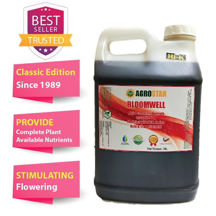 AGROSTAR – Bloomwell – High Potassium formula for flowering fortified with N P K, Amino Acid and trace element Liquid Fertilizer for Vegetables, flower, durian, Fruits &  All ornamentals 10L