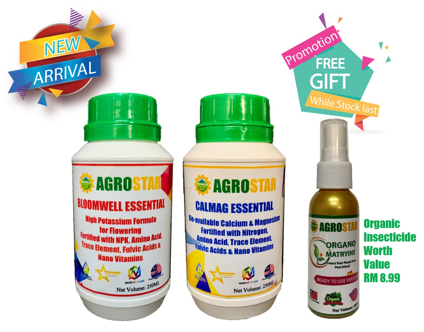 AGROSTAR – Bloomwell Essential ( Improved High Potassium formula ) & Calmag Essential ( Improved plant strengthen formula ) fortified with complete N P K , calcium, magnesium ,  Amino acids , Fulvic acids , Trace Element , Nano Vitamins 250ml Bundle Pack