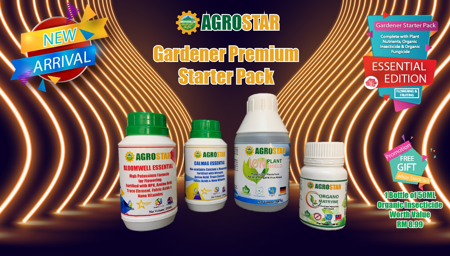 AGROSTAR Gardener Premium Starter Pack Essential Edition for Flowering and Fruiting Plants ( Complete with Bloomwell and Calmag Essential Plant Nutrients , Organo Matryine Organic Insecticide and Ion Plant Shield Organic Fungicide ) Plus Free Gift