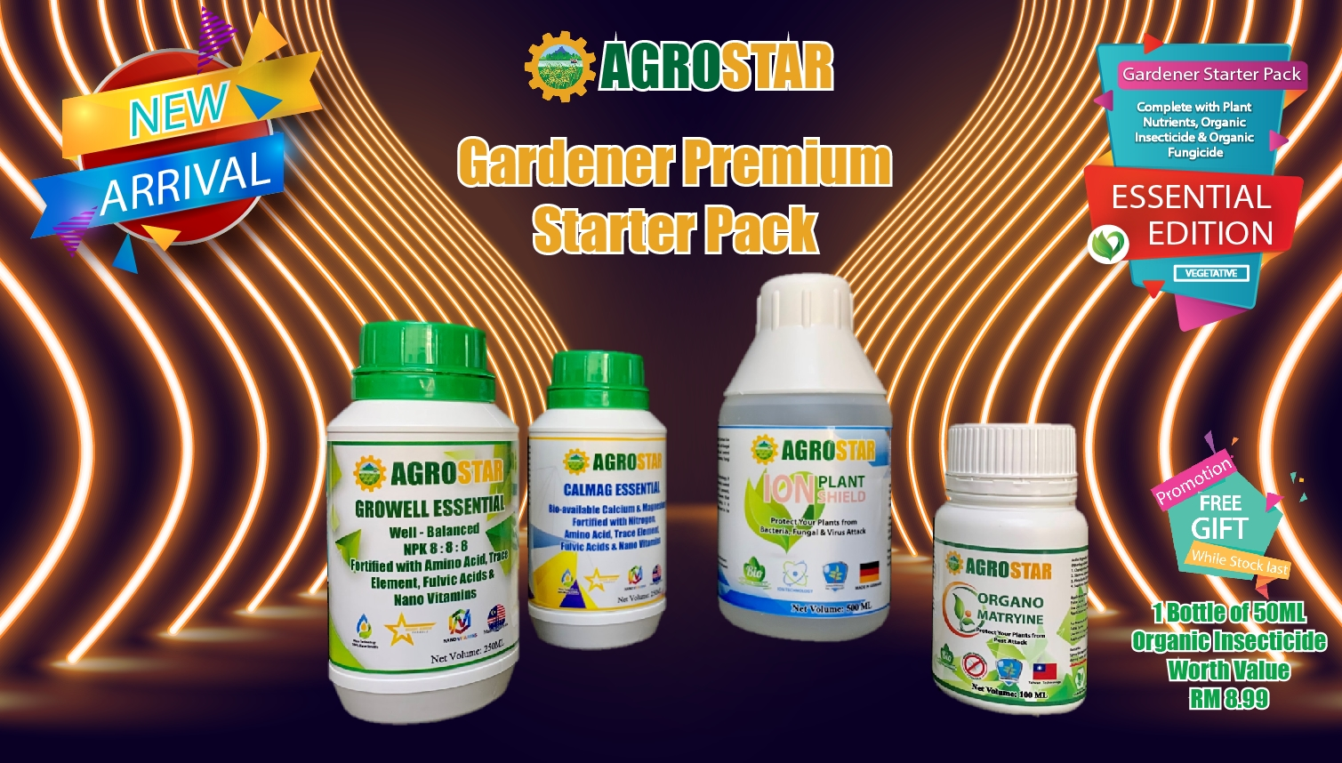 AGROSTAR Gardener Premium Starter Pack Essential Edition for Vegetative Plants ( Complete with Growell and Calmag Essential Plant Nutrients , Organo Matryine Organic Insecticide and Ion Plant Shield Organic Fungicide ) Plus Free Gift